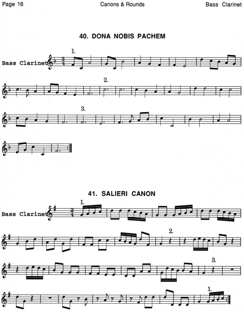 44 Canons & Rounds for Bass Clarinet Book